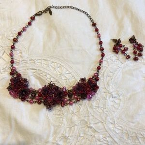 Jewelry - Floral Pink Beaded Necklace and Earring Set